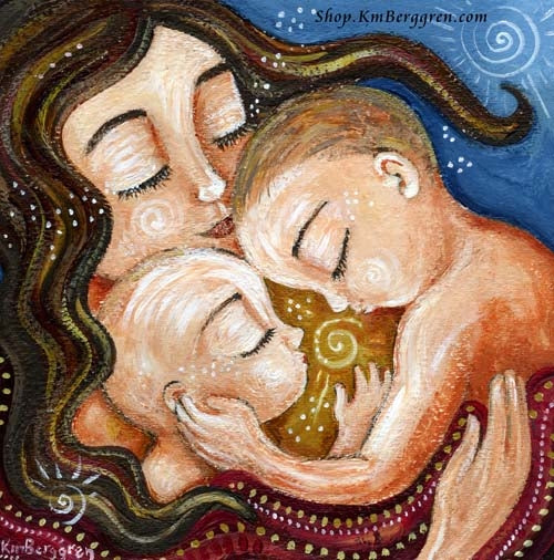 blue red and yellow art print of brunette mother kissing two little boys and a yellow sun in the middle