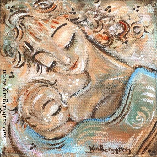 whimiscal artwork of curly blonde mother nursing blonde baby by artist KmBerggren