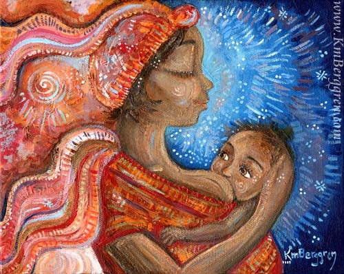 african american woman artwork, nursing baby and wearing a red head wrap and dress with blue background