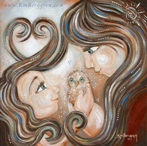 artwork of mother and daughter, both with long brown hair, together holding a bird with green eyes