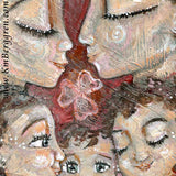 detail view of original painting of mother and father with three curly haired children and shamrocks and clover by KmBerggren