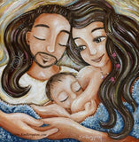 father with facial hair and mom with long brown hair nursing baby artwork by KmBerggren