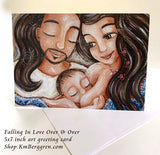 father and mother nursing baby boy greeting card