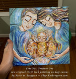 original painting on canvas showing mother and father with angel child in the middle wrapped in gold