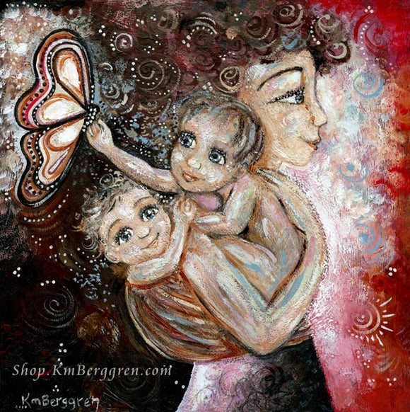 art print in magenta and black of mother with curly hair holding naked baby and wearing baby on back with butterfly