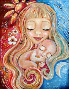 artwork print of blonde mother with sun and moon and naked baby curled against her. Flowers and orange and red and blue