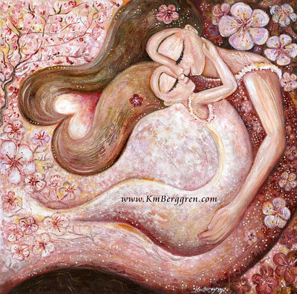 mother and daughter dancing beneath the cherry blossoms pink art print by KmBerggren