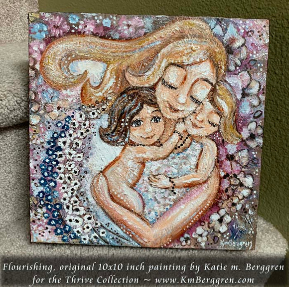 original painting on panel of blonde mother with two daughters and lots of delphinium flowers by KmBerggren
