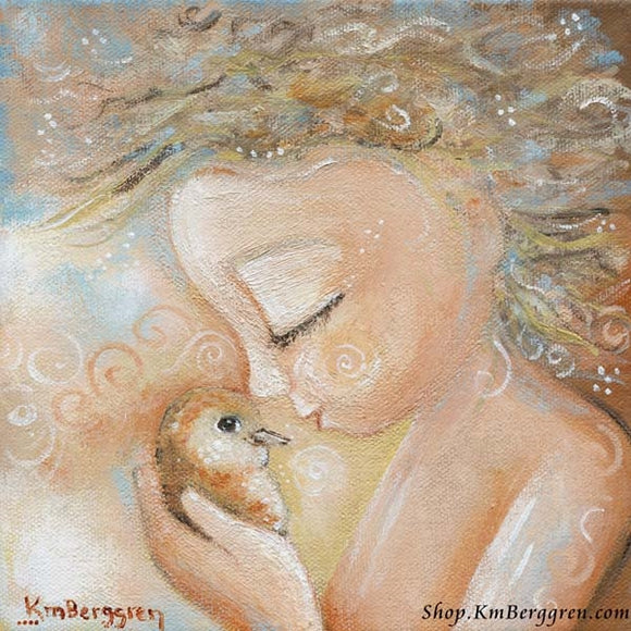 art print of a little child with curly blonde hair, holding a little soft orange bird to his nose, gentle baby art by KmBerggren