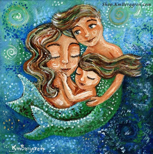 original painting in greens and blues of a mermaid mother holding two mermaid children, art by KmBerggren