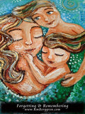 close up of original painting in greens and blues of a mermaid mother holding two mermaid children, art by KmBerggren