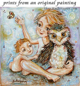 artwork showing blonde children and an owl and butterfly by KmBerggren