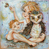 art print with blonde children an owl and butterfly by KmBerggren