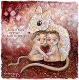 original painting on heavy paper of a mouse with two children, pink and red art print by KmBerggren