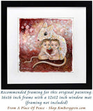 framed original painting on heavy paper of a mouse with two children, pink and red art print by KmBerggren