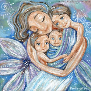 Mother with three children in purples. Customize hair and eye colors when you choose an Embellished Print!