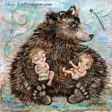 big bear artwork holding two babies in diapers, dragonly and gentle nature art by KmBerggren