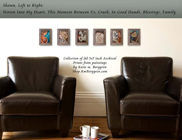 a personalized collection of 5x7 KmBerggren art prints on the wall in frames. Choose your prints to make up your collection
