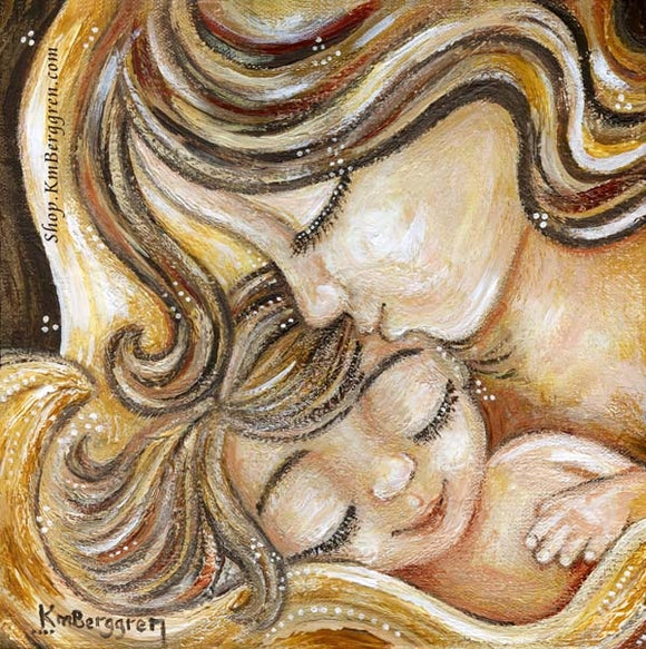 painting of mother and child in golden colors, mother kissing baby's forhead, art by KmBerggren
