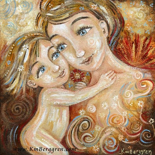 artwork of mother and daughter, blonde hair with flowers in hair, red and yellow sunset background, art by KmBerggren
