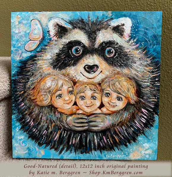 friendly raccoon hugging children original painting on wood panel print by KmBerggren