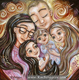 whimiscal and fantasy artwork of mother father and three children, long blonde and brunette hair, red and yellow by KmBerggren