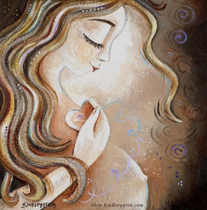 art print of pregnant mother holding a heart to her chest, long blonde hair, artwork by KmBerggren