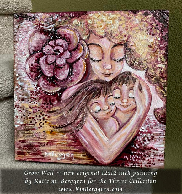 original painting of blonde curly mother with two brunette children and huge pink rose flower by KmBerggren