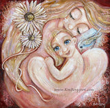Heal Together - Blonde Mother with Blue Eyed Girl & Bird Art Print