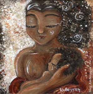 artwork of African American mother holding a baby to her breast. Nursing art by KmBerggren