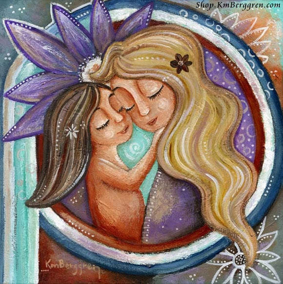 artwork of blonde mother holding brunette daughter with big purple flower in background, art by KmBerggren
