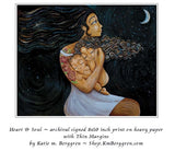 example print of long black haired mother artwork of mom holding curly daughter and baby son beneath a crescent moon, art by KmBerggren