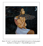 sample print - long black haired mother artwork of mom holding curly daughter and baby son beneath a crescent moon, art by KmBerggren