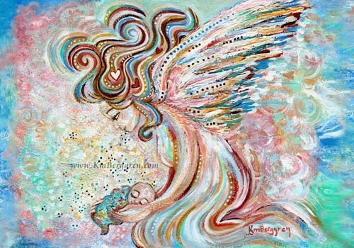 whimsical and fantasy artwork of large angel with curly colorful hair holding a tiny infant. Pink and Blue background, Katie m. Berggren