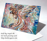 small condolence gift for mother of angel, angel holding infant blank greeting card