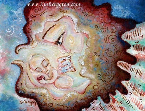 angel and winged infant art print from KmBerggren. Blue and red and pink and green playful art print of angel baby in hand.