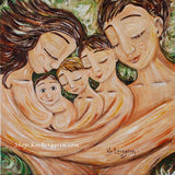 art print of a mother and father sleeping with three sons with green background by KmBerggren