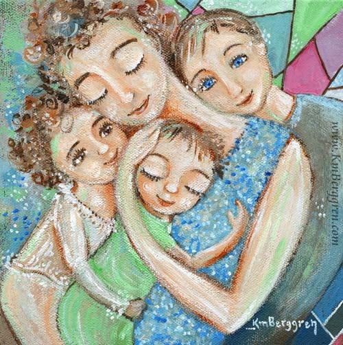 art print with geometric background of mother with curly hair holding three children, pinks and blues and greens, by KmBerggren