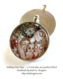 mother with three kids and daisies glass art pendant necklace mothers gift 1.5 inches across handmade by the artist