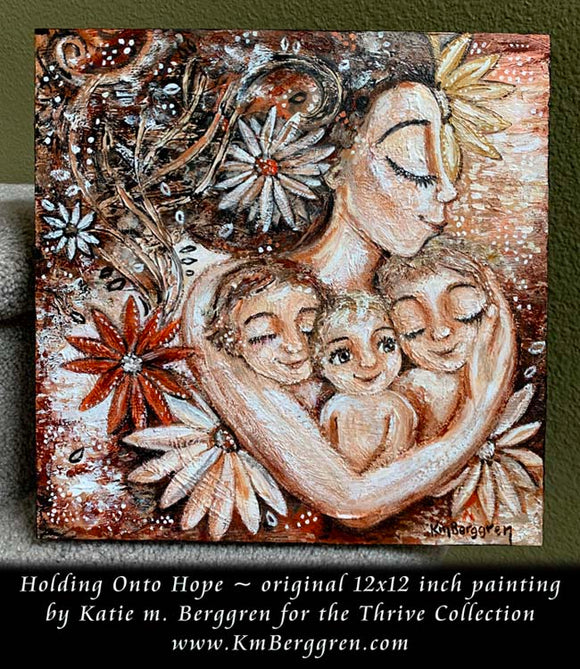 Holding Onto Hope - Original 12x12 inch painting on deep cradled wood panel
