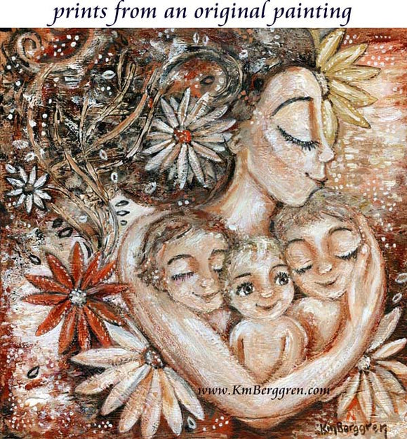 art print of mother with three children and big daisies, whimsical flowers and movement painting by KmBerggren