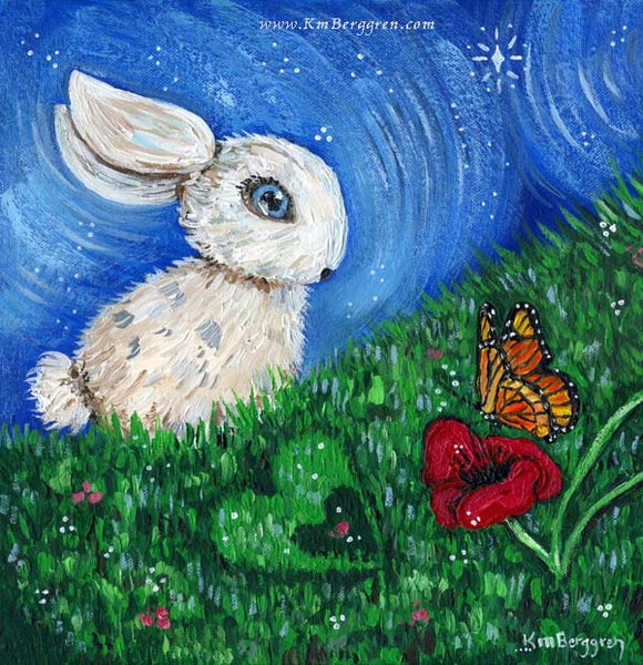 little bunny in the grass with a butterfly and poppy flower from the Carry You With Me storybook