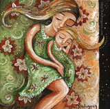 art print of mother sleeping with blonde daughter in a pink and green bed with red flowers by KmBerggren