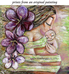 expectant mother art print with giant purple crocuses and tiny new baby with green background by KmBerggren