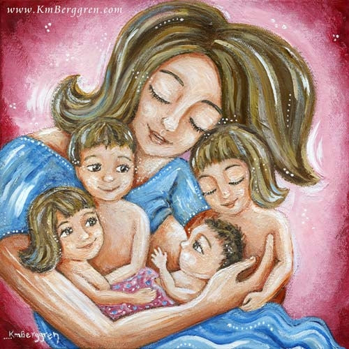 pink and blue art print of mother with four children and nursing the youngest, art by KmBerggren