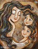 brown and gold art print from KmBerggren of brunette mother with two brunette girls and big flower