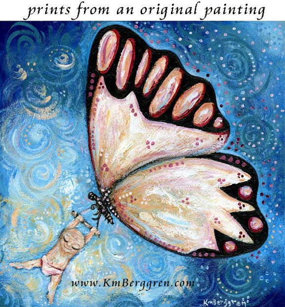 butterfly swinging baby in freedom of blue sky art print by KmBerggren