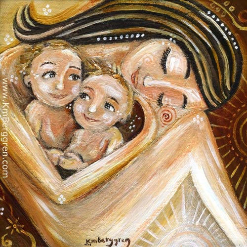 gold and red yellow art print by KmBerggren of brunette mother holding two blonde children in her lap, sweet twins, red sun