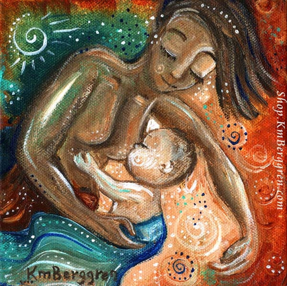 Biracial artwork of mother nursing light skinned baby, with green and red background by KmBerggren