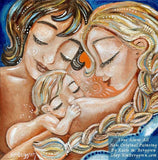 original painting of two mothers with nursing baby, blonde braid, short brown hair, artwork by KmBerggren